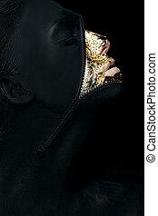 nő, neki, süvít, festett, concept., elképzel, kreatív, szürrealista, kapocs, furcsa, fekete, arc
