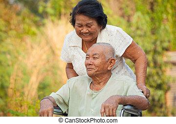 nő, neki, tolószék, rámenős, meghibásodott, idősebb ember, férj