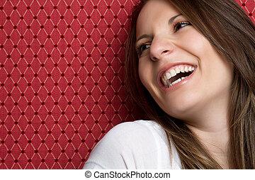nő, nevető