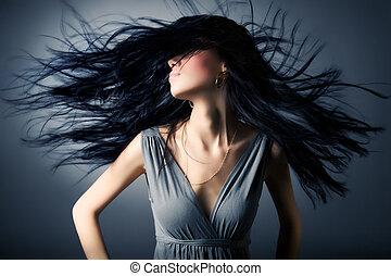 nő, noha, csapkodó, haj