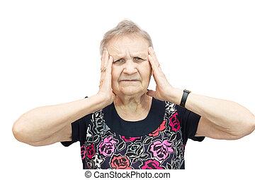 nő, noha, egy, fejfájás