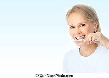 nő, noha, egy, fogkefe