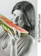 nő, noha, egy, görögdinnye