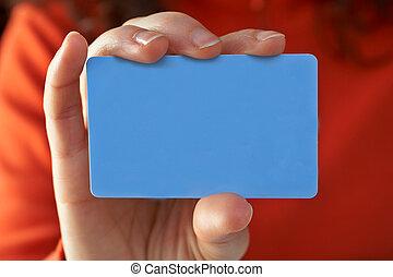 nő, noha, egy, hitelkártya, képben látható, neki, kéz