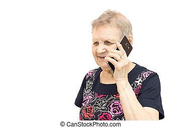 nő, noha, egy, mobile telefon