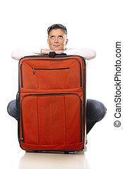 nő, noha, egy, nagy, bőrönd