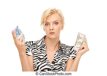 nő, noha, euro, és, dollár