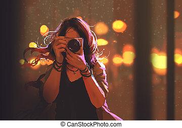 nő, noha, fényképezőgép, képben látható, éjszaka, város, háttér