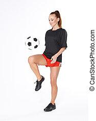 nő, noha, focilabda