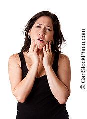 nő, noha, fogászati, állkapocs, fáj
