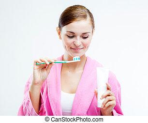 nő, noha, fogkefe, és, fogazat ragaszt, cső