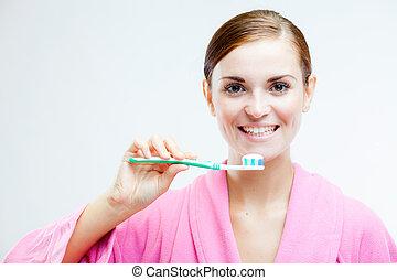 nő, noha, fogkefe, fogászati törődik
