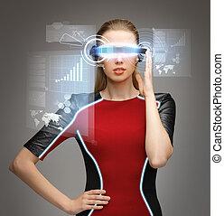 nő, noha, futuristic, szemüveg