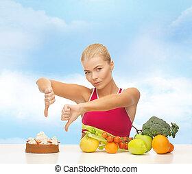 nő, noha, gyümölcs, kiállítás, lapozgat le, fordíts, torta