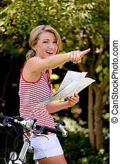nő, noha, hegy bicikli