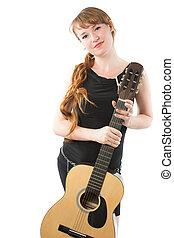 nő, noha, hosszú, copf, és, gitár, képben látható, egy, white háttér