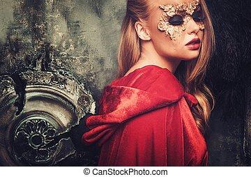 nő, noha, kreatív, farsang álarc, képben látható, neki, arc