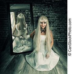 nő, noha, nagy, kés, alatt, tükör, visszaverődés