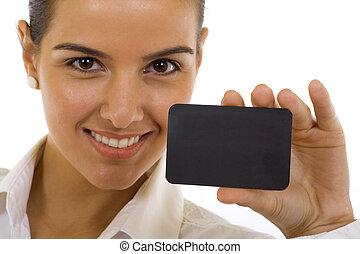 nő, noha, nagy mosoly, elárul, üres ügy kártya