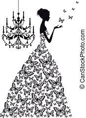 nő, noha, pillangók, vektor