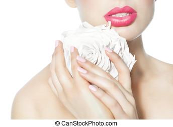 nő, noha, rózsa