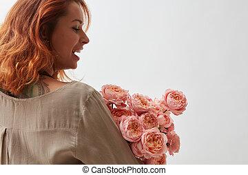 nő, noha, rózsaszínű, ranunkulus, csokor, képben látható, egy, white háttér