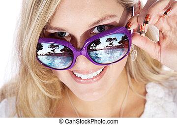 nő, noha, szemüveg