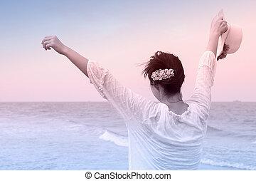 nő, nyílik, kalap, fiatal, fegyver, birtok, tengerpart