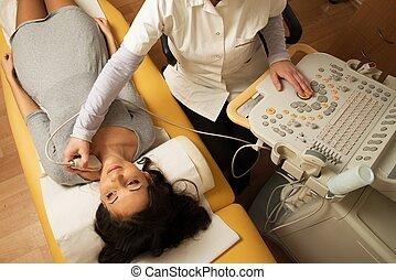 nő, nyak, kórház, fiatal, ultrasound vizsga