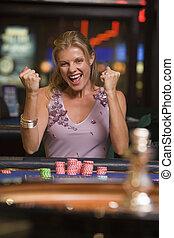 nő, nyerő, -ban, roulette asztal