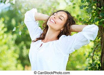 nő, outdoor., élvez, fiatal, természet, gyönyörű