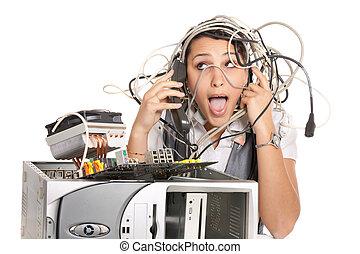 nő, pánik, számítógép