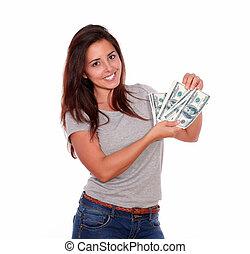 nő, pénz, készpénz, fiatal, mosolygós, bájos