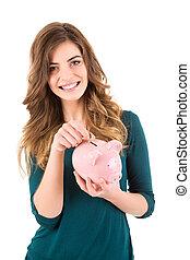nő, pénz, látszó, falánk, megment, kényelmes, part