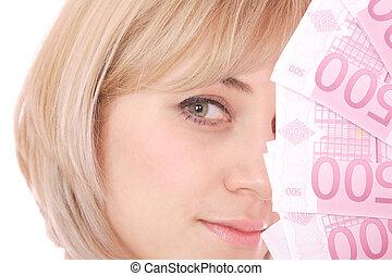 nő, pénz