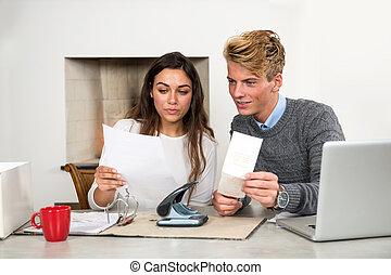 nő, pénzel, személyes, konyha, -eik, kiválasztás, ki, asztal, ember
