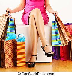 nő, pantalló, bevásárlás