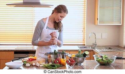 nő, peppering, neki, étkezés