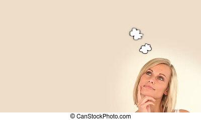 nő, pillanat, gondolkodó, körülbelül, szőke