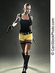 nő, pisztoly, csap, hát