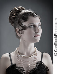 nő, portrait., retro újjászületés