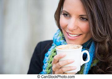 nő, részeg kávécserje