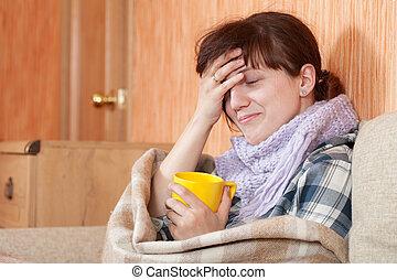 nő, részeg tea, csípős