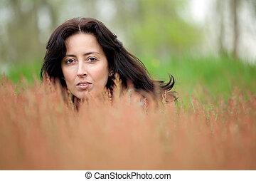 nő, rejtett, alatt, természet
