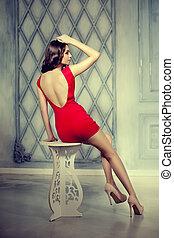 nő, ruha, lux, szüret, karcsú, divatba jövő, rövid, pazar, fényűzés, háttér, interior., leány, mód, piros