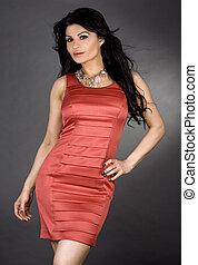 nő, ruha, piros