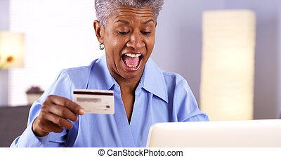 nő, ruhanemű, online, érett, afrikai, vásárlás, boldog
