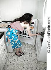 nő, sülő, alatt, konyha
