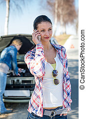 nő, segítség, autó, hívás, probléma, út