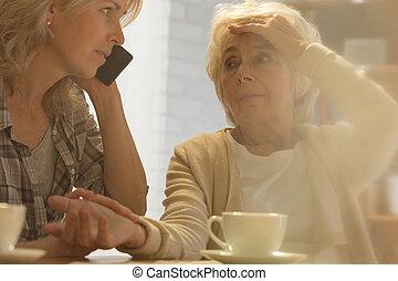 nő, segítség, hívás
